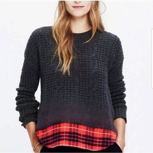 Madewell Wintermix Cable Knit Plaid Ombre Sweater